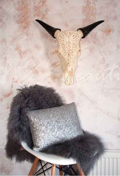 TIBETAN SHEEP CURLY-FUR HIDE- GREY