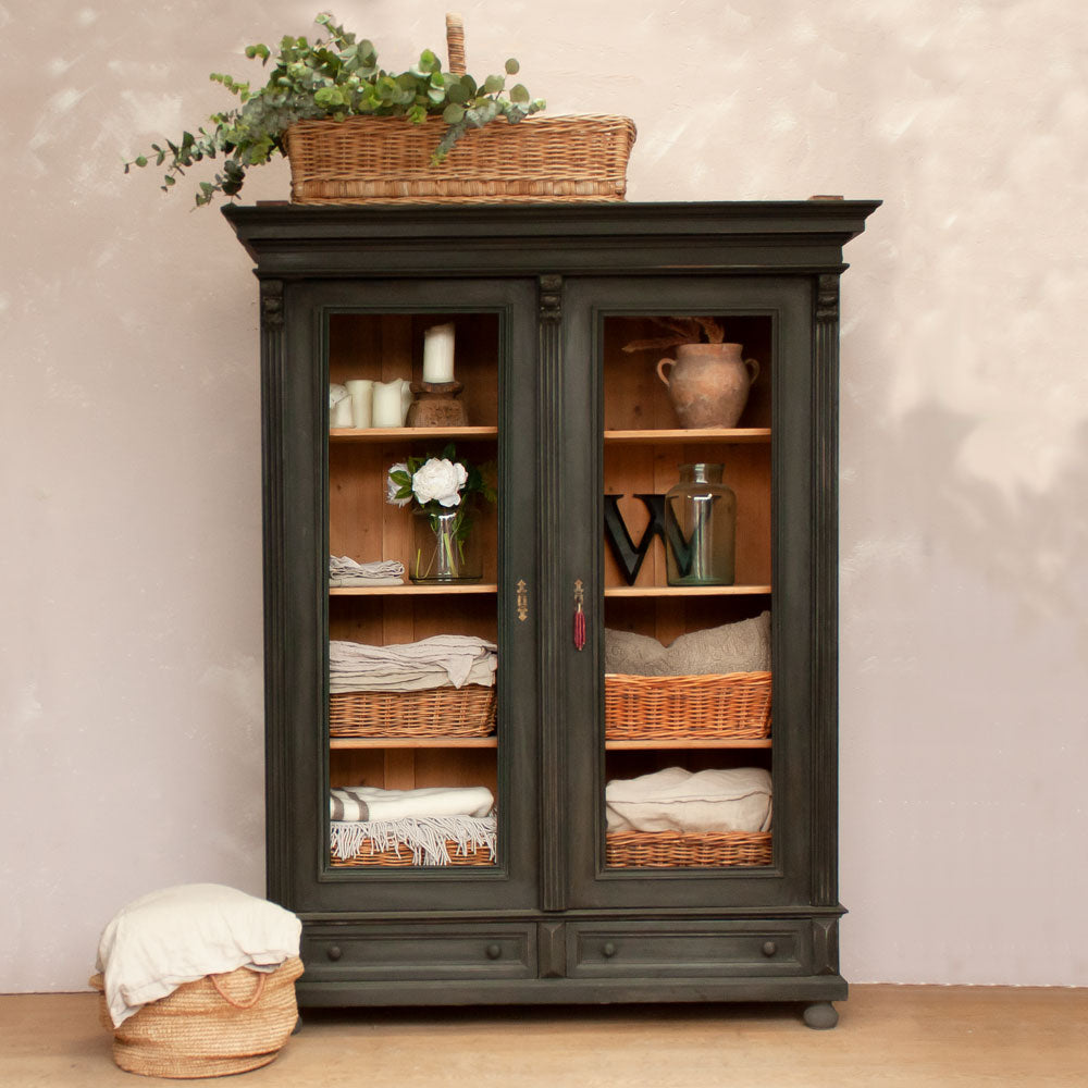 Large Vintage Black Display Cabinet With Glass Doors
