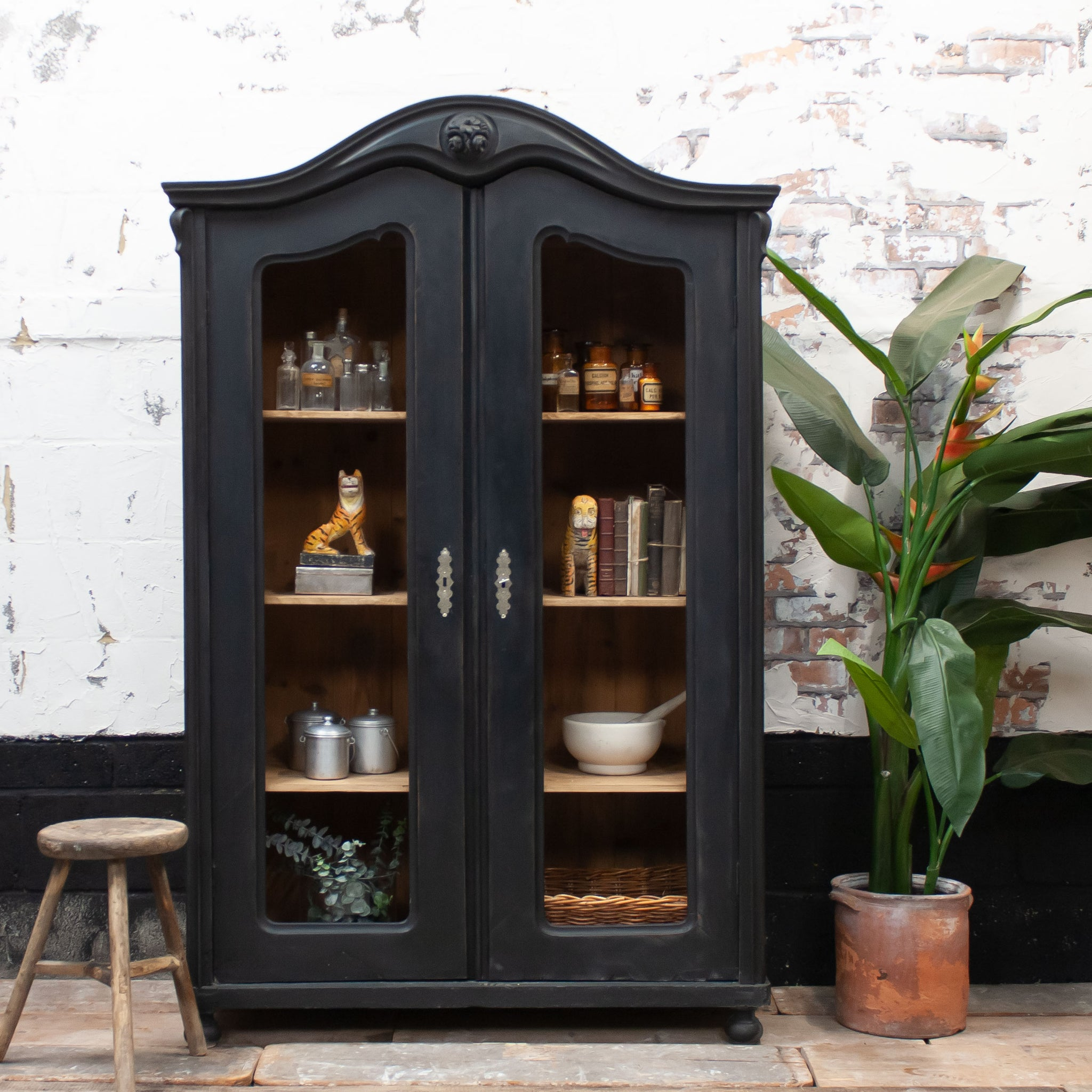 Vintage Black Display Cabinet