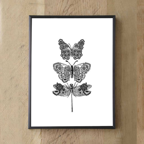 Beautiful Lacy Print Artwork Butterflies