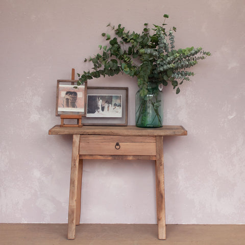 Reclaimed Wood Console Table with Single Drawer