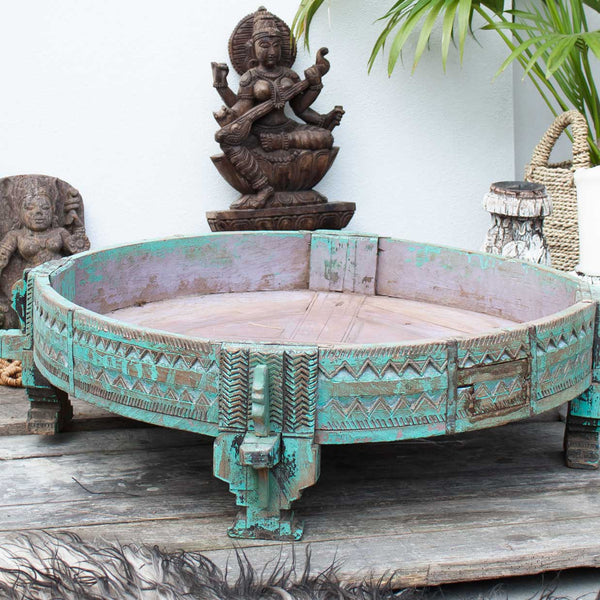 Indian Carved Turquoise Chakki table