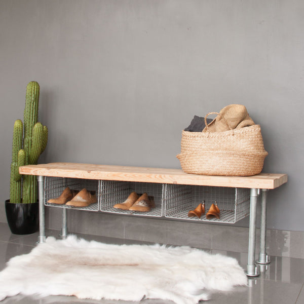 Bench with Wire Shoe Rack Storage