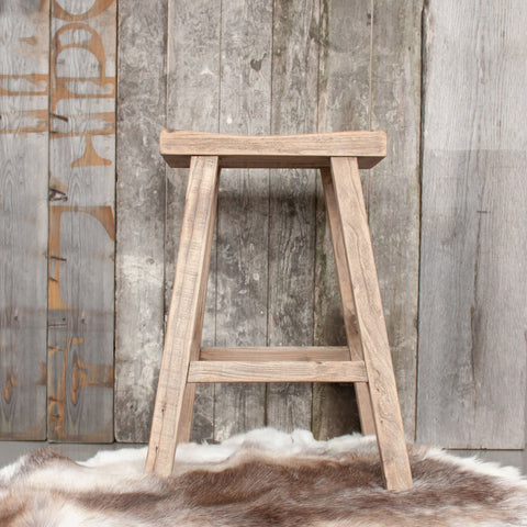 Vintage Rustic Wooden Bar Stool