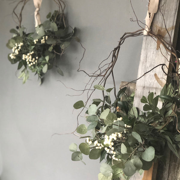 Faux Eucalyptus and White Berry Everlasting Christmas wreath