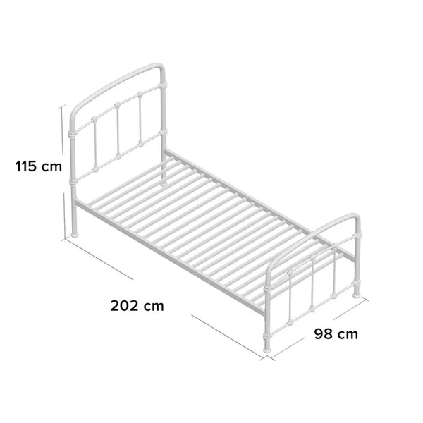 Copper framed Single Bed with Mattress
