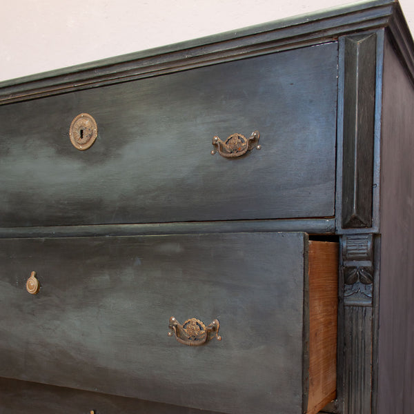 Vintage Black Wooden Chest of Drawers