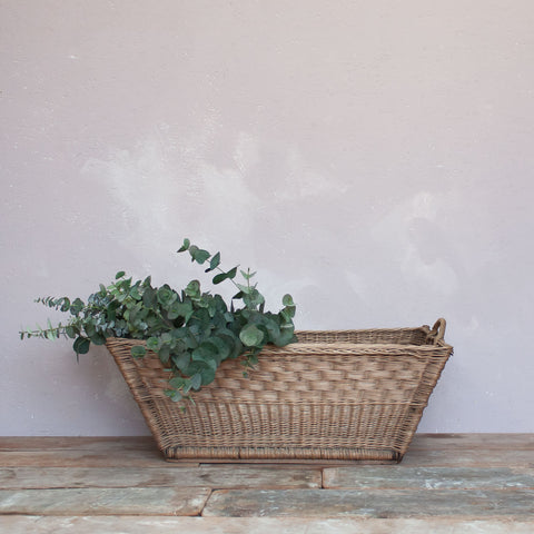 Vintage French Linen Laundry Basket