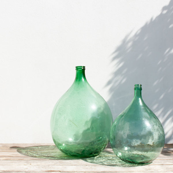 Large Vintage Green French Demijohn Carboy