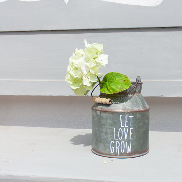 Zinc Milk Churns with Hand Painted Quote