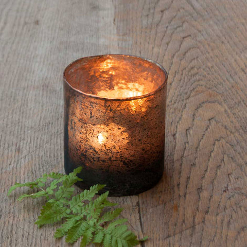 Larger Rustic Glass Tea Light Holder