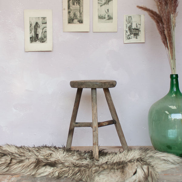 Little Round Vintage Rustic Wooden Stool