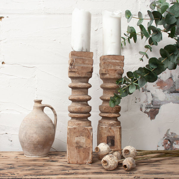 Tall Wooden Candle Sticks