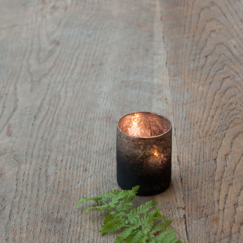 Small Rustic Glass Tea Light Holder
