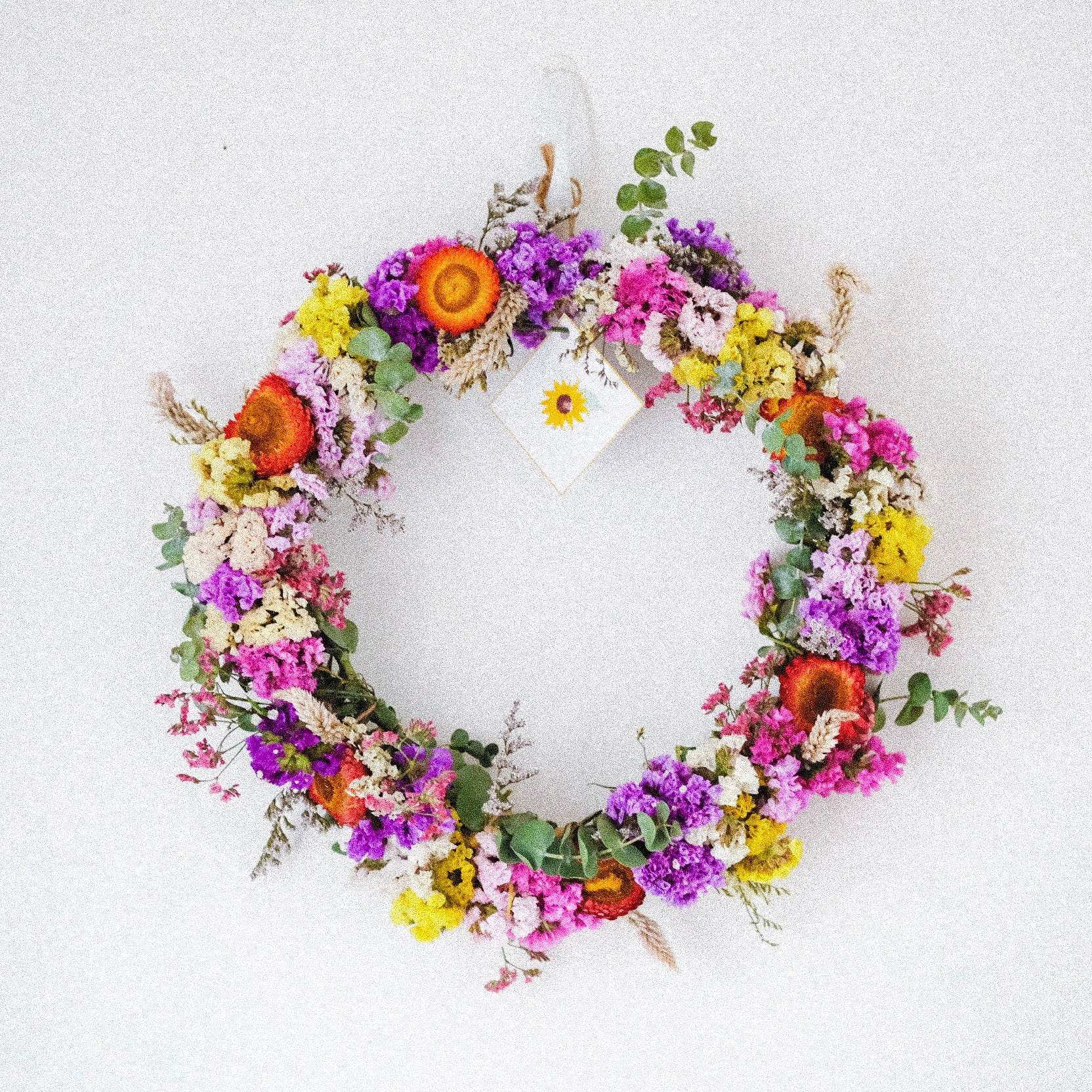 bespoke dried flower wreath by sunny label