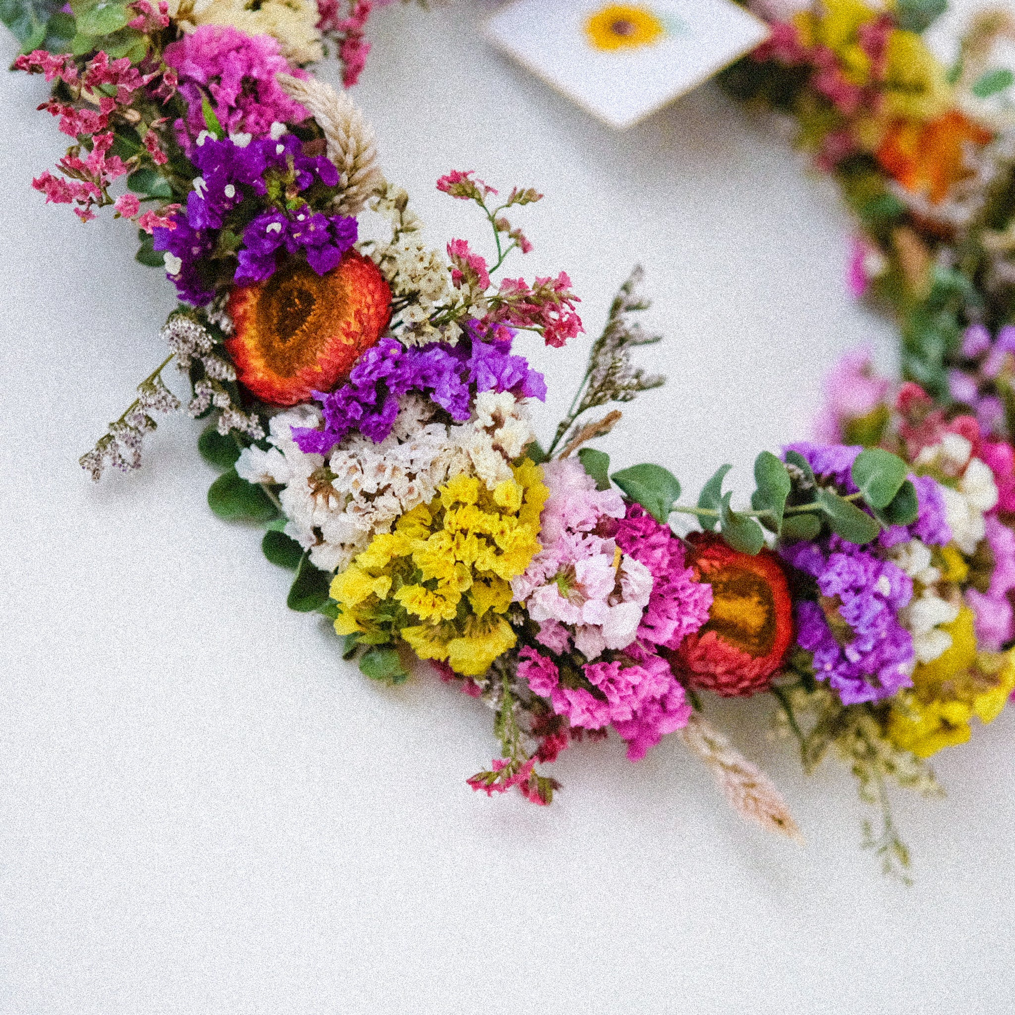bespoke dried statice flower wreath by sunny label