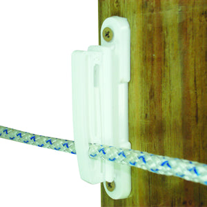 "Wood Post - 2"" Polytape Nail on Insulator - White"
