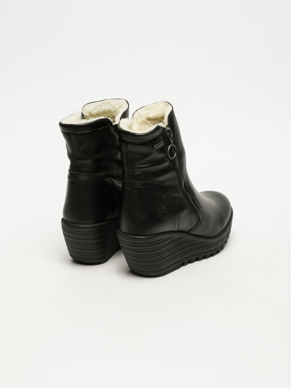 Zip Up Ankle Boots YOLK060FLY BLACK (WARM LINING)