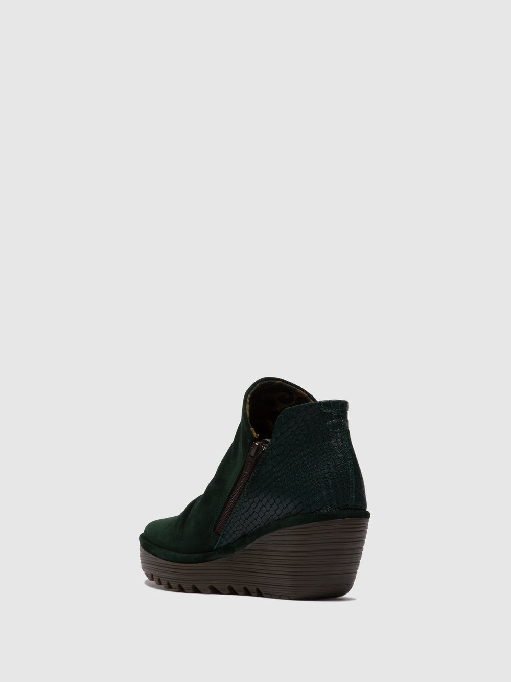 Zip Up Ankle Boots YIP OILSUEDE/CROCO GREEN FOREST