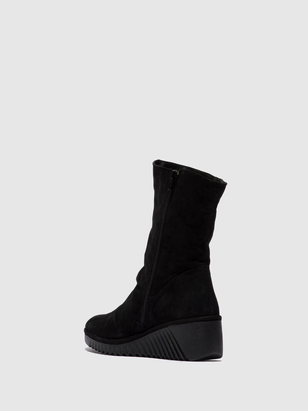 Zip Up Ankle Boots LEDE228FLY SILKY BLACK