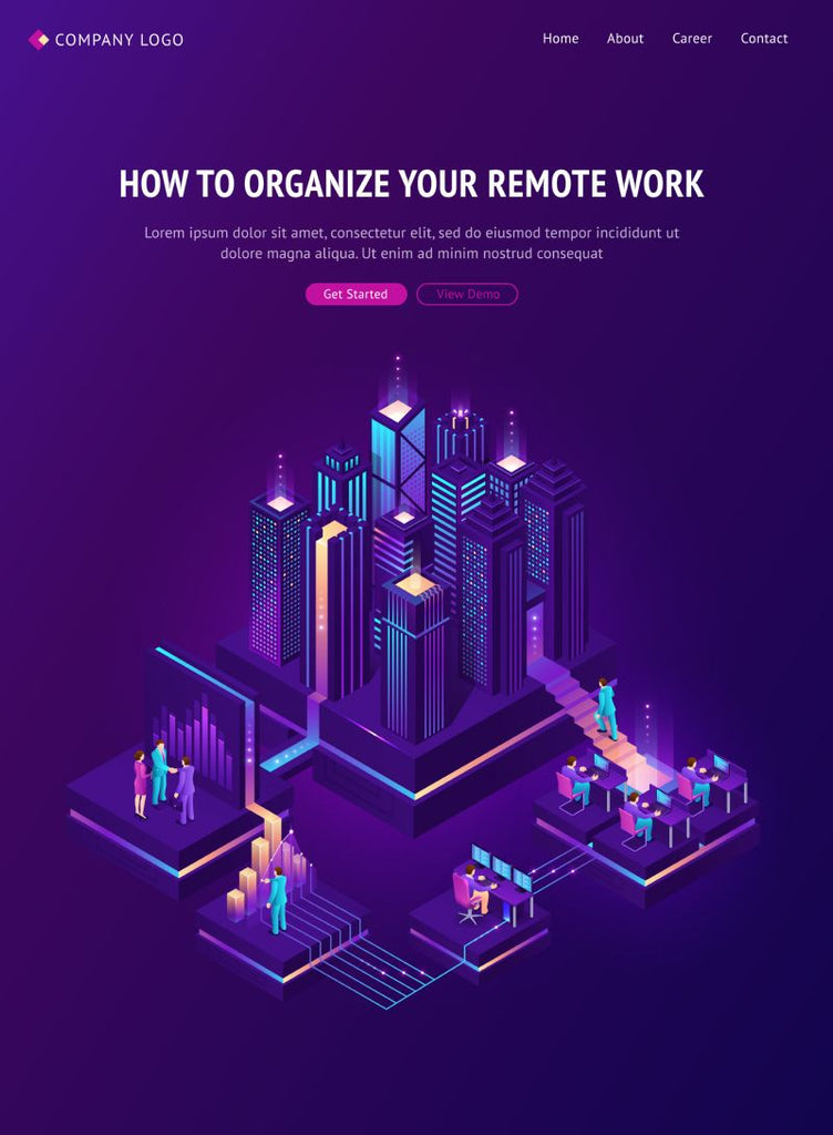 Remote work isometric landing page. Global outsourcing  #687