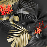 Tropical black and gold leaves on dark  #170