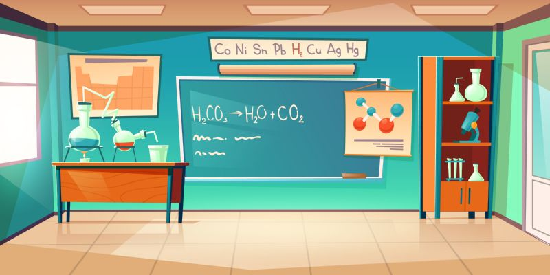 Chemistry cabinet, empty classroom laboratory interior with  #646