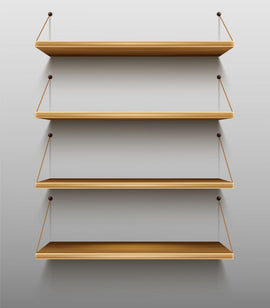 Free vector. Empty wooden bookshelves on wall, shelves for  #415