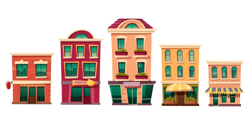 Urban retro residential buildings with small shops  #617
