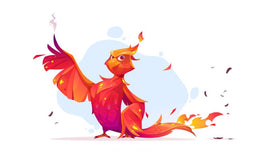 Free vector. Phoenix or fenix fire bird cartoon character.  #413