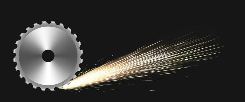Rotating circular saw blade with fire sparks.  #353