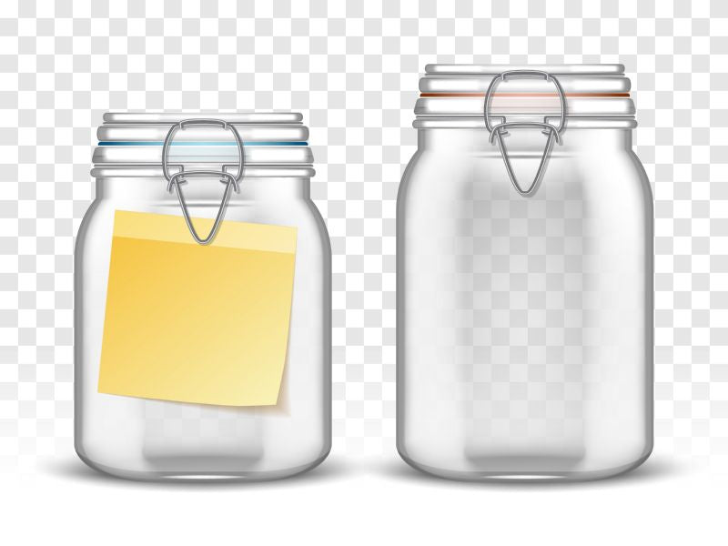 Glass bale jars with paper note, realistic  #800
