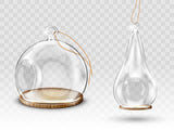 Glass christmas balls, hanging dome with hole,  #798