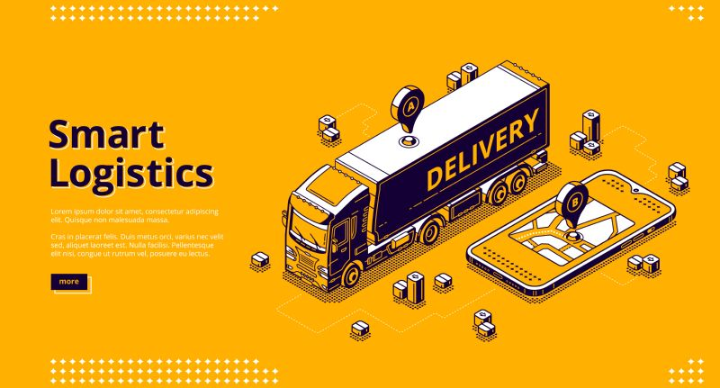Smart logistics isometric landing page, tracking geo  #552