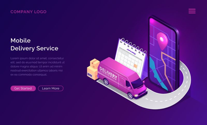 Mobile delivery service online app, vector isometric  #801