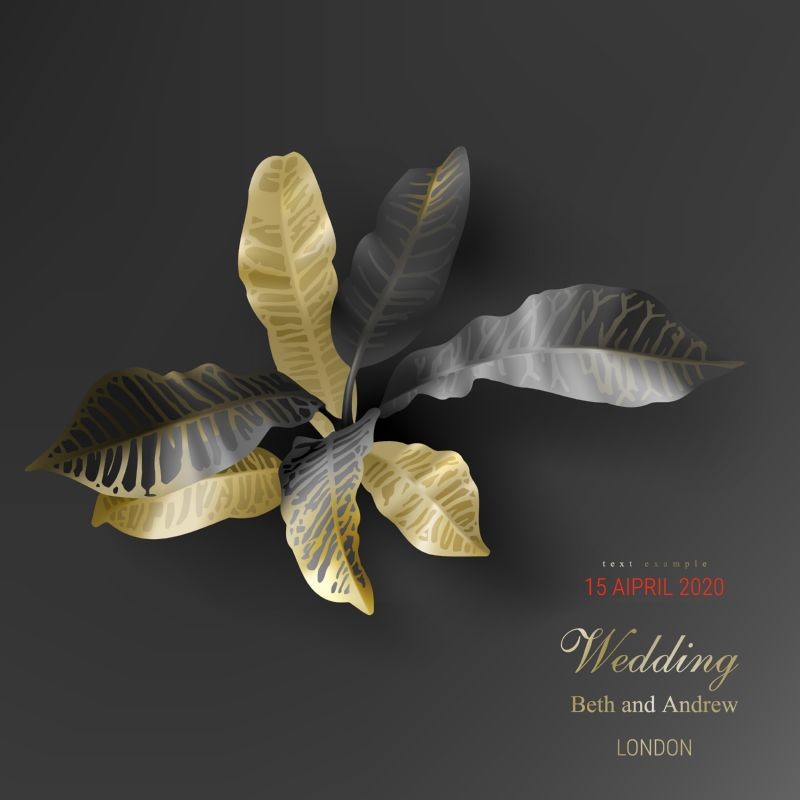 Tropical black and gold leaves on dark  #79