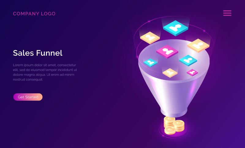 Sales funnel, isometric concept vector illustration. Marketing  #340