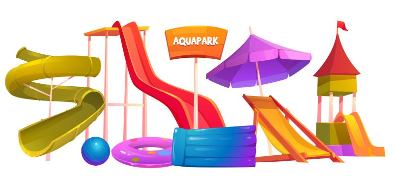 Aquapark equipment set. Modern amusement park water  #465