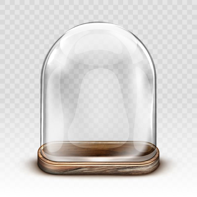 Free vector. Glass dome and old wooden tray realistic  #786
