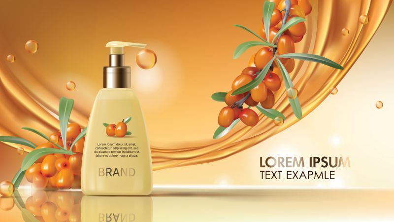 Sea buckthorn cosmetics vector realistic ads poster.  #375