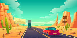 Free vector. Road in desert with cars riding long  #635