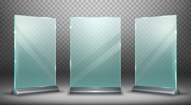 Acrylic display desktop or floor, glass plate  #328