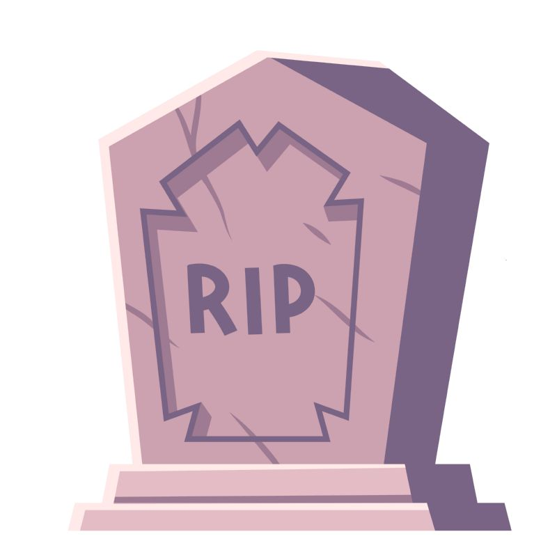 Cemetery symbol, tombstone with RIP inscription, cartoon  #535