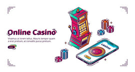Free vector. Mobile online casino. Vector isometric background with  #790