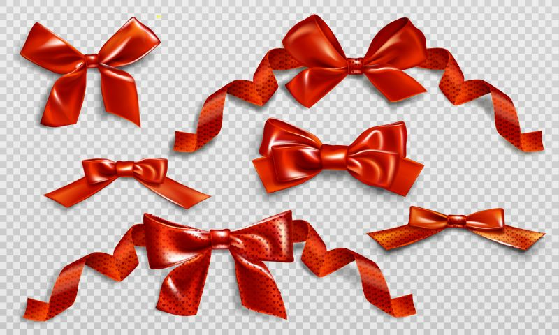 Red bows with curly ribbons and heart  #589