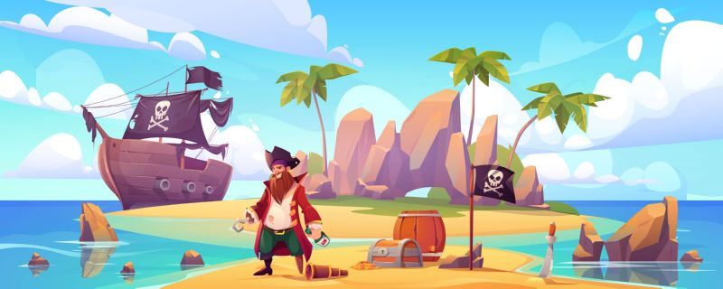 Free vector. Pirate on island with treasure, bearded smiling  #788