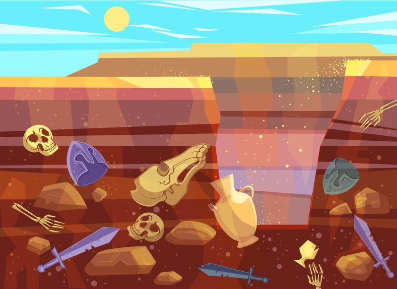 Archaeological excavations, cartoon vector illustration. Desert landscape  #675