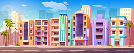 Free vector. Street in Miami with buildings, hotels, road  #538
