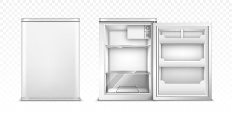 Small refrigerator with open and closed door.  #107