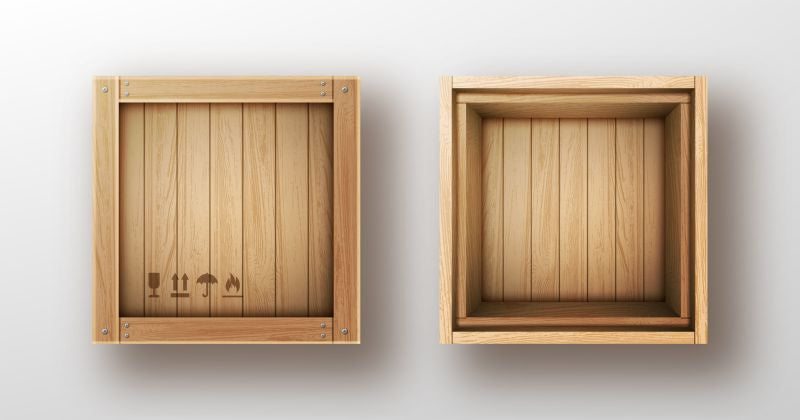Wooden box open and closed realistic vector  #794